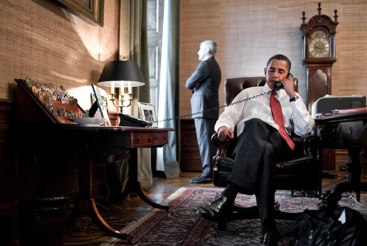 obama on the phone in private residence at the white house cristy li. Black Bedroom Furniture Sets. Home Design Ideas