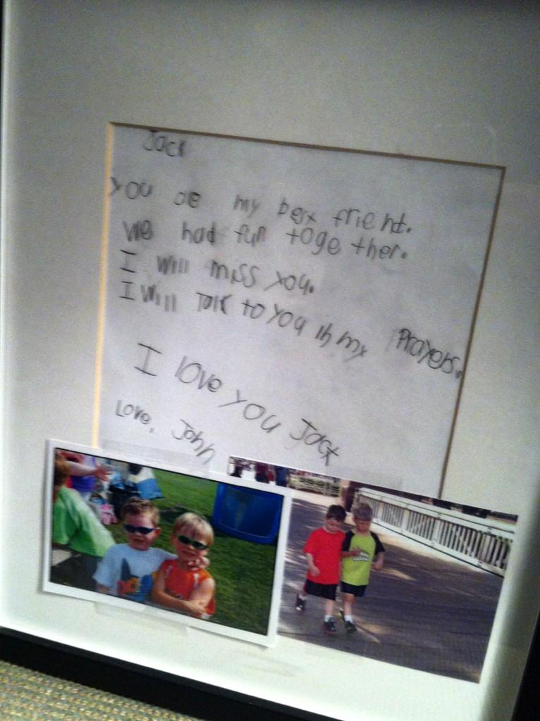 Letter 6 Yr Old Jack Pinto's Best Friend Wrote To Him