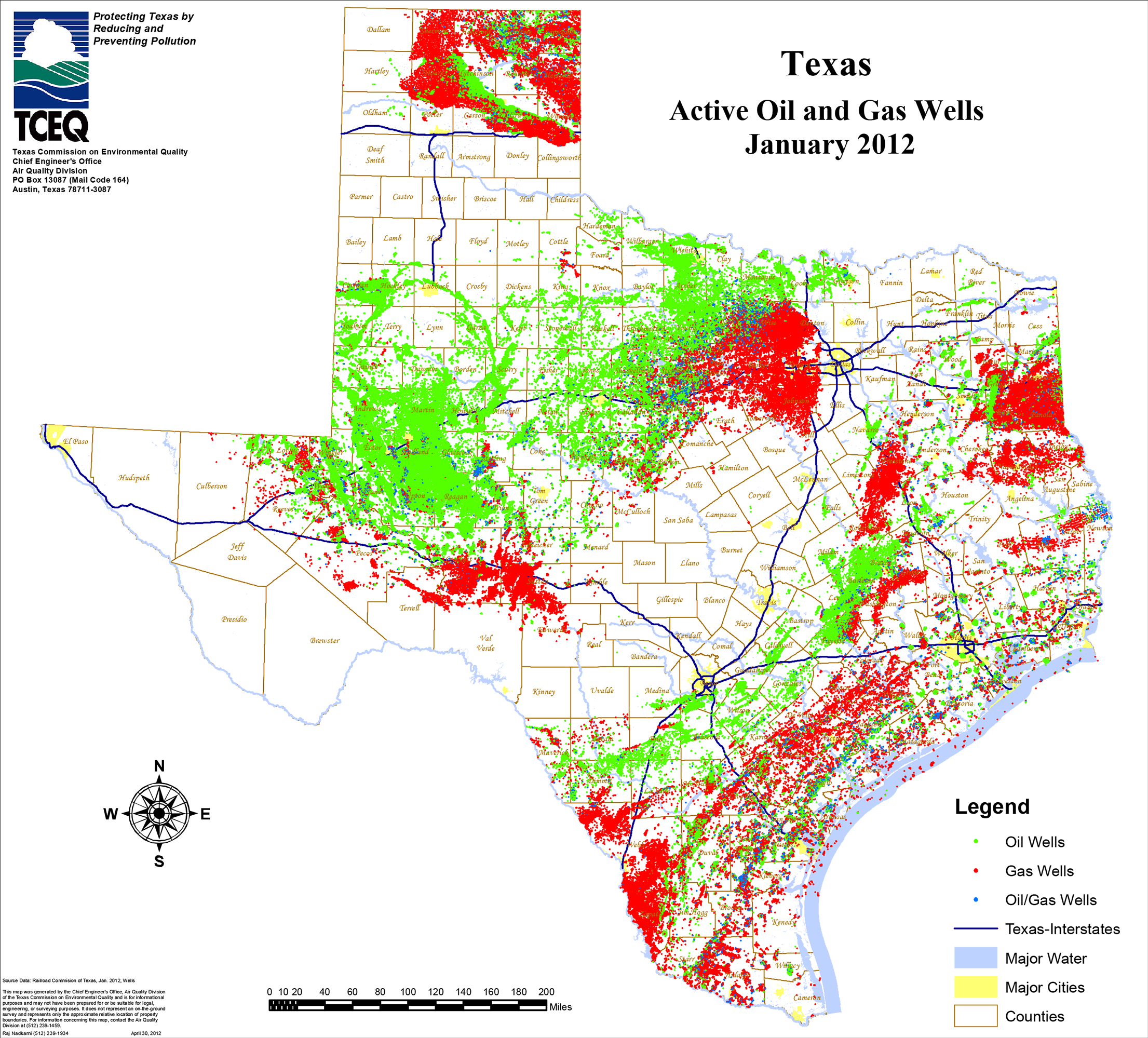 Texas Acrive Oil & Gas Wells 2012