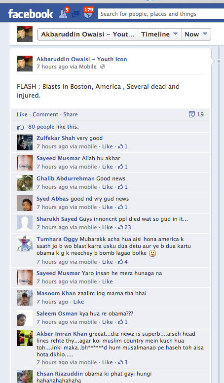 Muslims Praise Boston Marathon Bombings