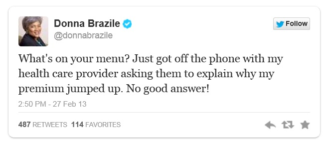 Donna Brazile Tweets on ObamaCare Rising Premiums