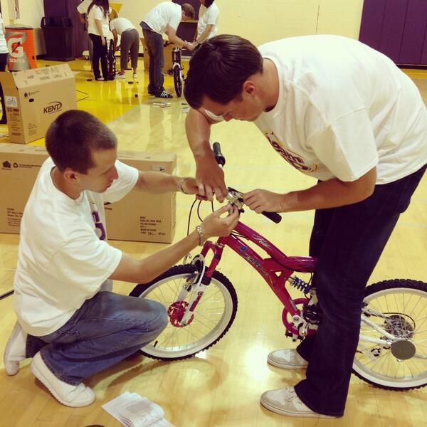 LA Lakers Staffers Working on Bikes For KIds