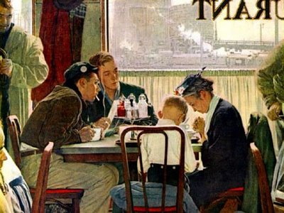 Thanksgiving Prayer--Norman Rockwell, Saturday Evening Post