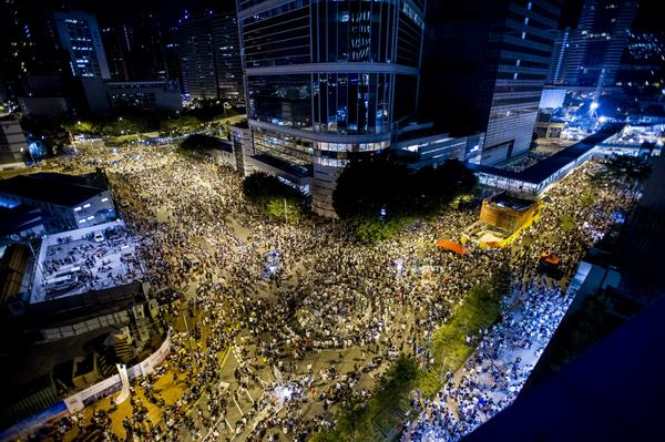 Tens of Thousands Protest in Hong Kong