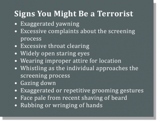 TSA Warning Signs