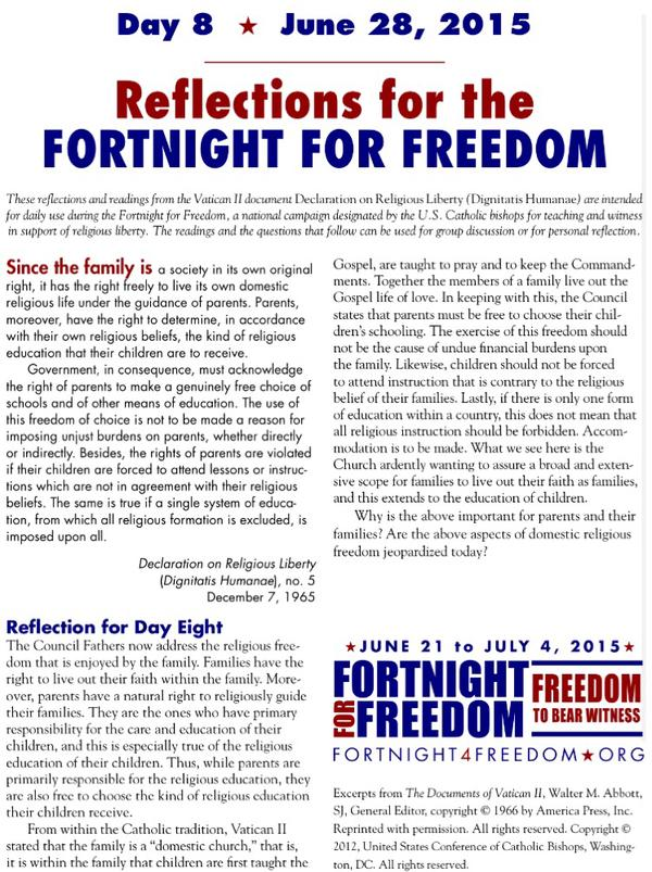USCCB Fortnight For Freedom