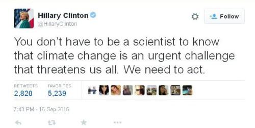 Hillary Clinton Global Warming