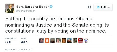 Sen Barbara Boxer on Federal Nominations
