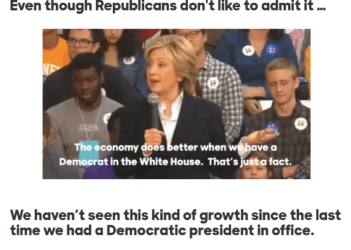 Hillary Clinton Cheers Obamanomics